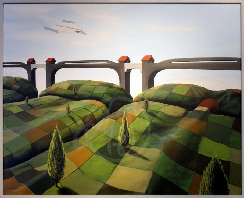 Feldbetten 150cm x 120cm Acryl, Leinen 2015 1600,- € (inkl. Rahmen)