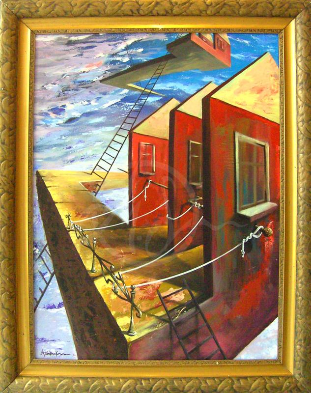 Waschhaus 125cm x 88cm Acryl auf Holz
