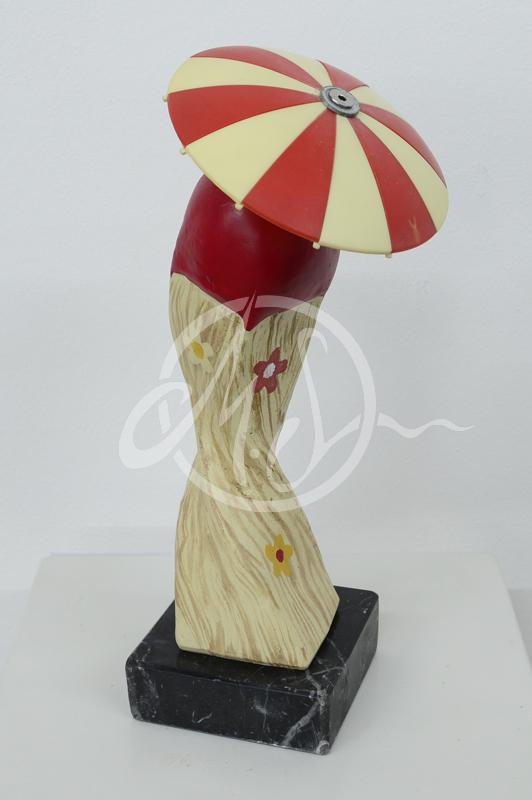 """""""Streichholz Skulptur"""" handbemalter Gipsguss angefertigt 2016-17 je ca. 25cm hoch"""