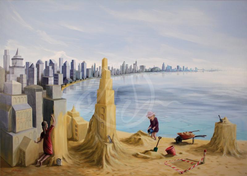 Visionäre, Acryl auf Leinen, 140 x 120cm, Michael Schreckenberger, 2016